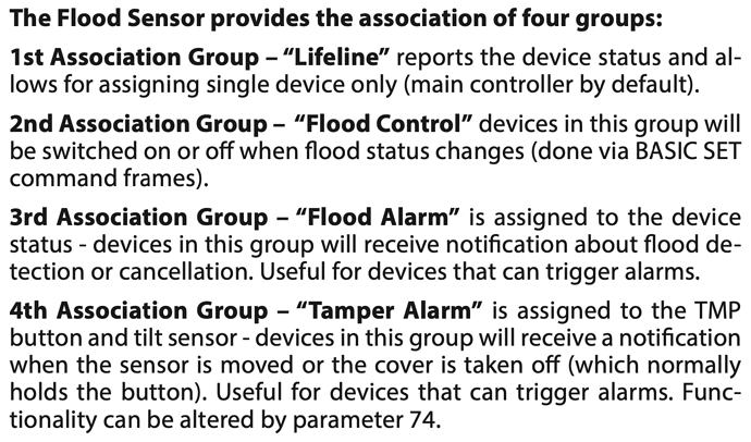 flood sensor association groups